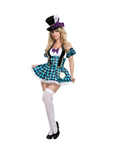 Starline Sexy Women's Mad Hatter Costume Set , Blue/Black, Medium -