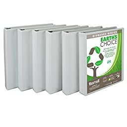 Samsill Earth\'s Choice Biobased Presentation Binder, 3 Ring Binder, 1 Inch, Round Ring, Customizable, White, 6 Pack