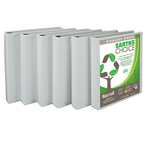 Samsill Earth's Choice Biobased Presentation Binder, 3 Ring Binder, 1 Inch, Round Ring, Customizable, White, 6 Pack ()