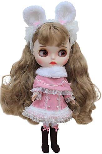 Dolly Para ブライスアウトフィット 兎耳マント冬セット 小さいレーディー (ピンク)