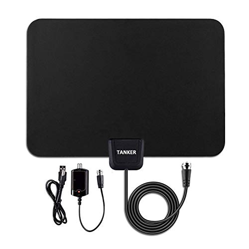 HDTV Antenna,Amplified TV Antenna with Signal Booster and Indoor Digital Antenna 50 Mile Range for TV -10FT High Performance Coaxial Cable