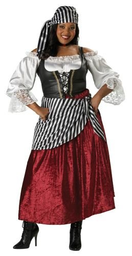 [InCharacter Costumes Women's Plus-Size Pirate's Wench Adult Plus Size Costume, Black/Burgundy, 2X] (Burgundy Pirate Wench Adult Costumes)