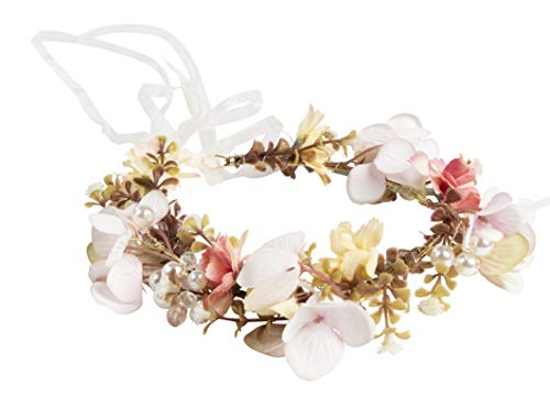 Flower Headband - Adjustable Floral Wreath Headband, Crown Garlands for Girls and Women - Great for Weddings, Festivals, Bridal Events, Parties, Hippies, Pink and Yellow, One Size Fits Most, 6.2 x 7.5 -