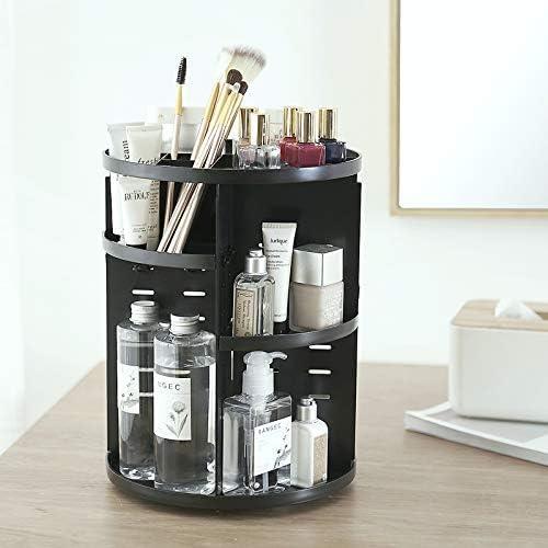 WYQLTD 360 Rotating Makeup Organizer, Cosmetic Storage Box Adjustable Large Capacity Cosmetics Display Makeup Shelf, Multi-Function Acrylic Best for Countertop Black