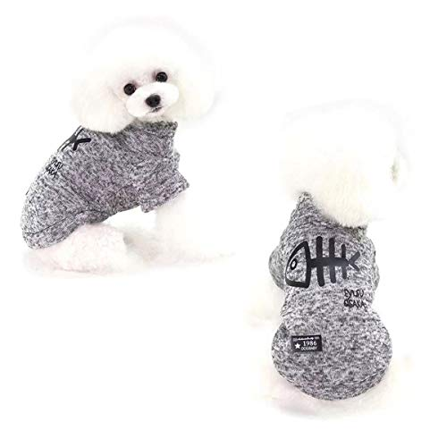 AprilPet Warm and Comfy Fleece Sweatshirt Hoodies for Small Dogs Cats (M, Grey)