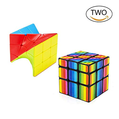 Bfull Cube Set 1 Speed Cube Set, 3x3x3 Magic Cube Set of Torsion Twisted Cube and Colorful Cube Puzzle Toy for Kids and Adults