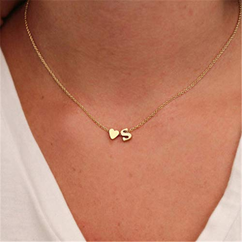 Az Collection Plated Necklace - Fashion A-Z Letter Chain ker for Women Gold Silver Sweet Alphabet Heart Pendant Jewelry Girl's ces ABC New