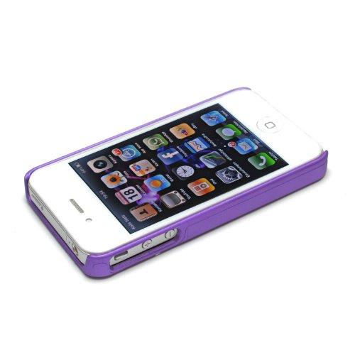 deinPhone - iPhone 4 4S Case Schutzhülle Schutz Handy Hülle Bumper Tasche Etui Silver Line in Lila