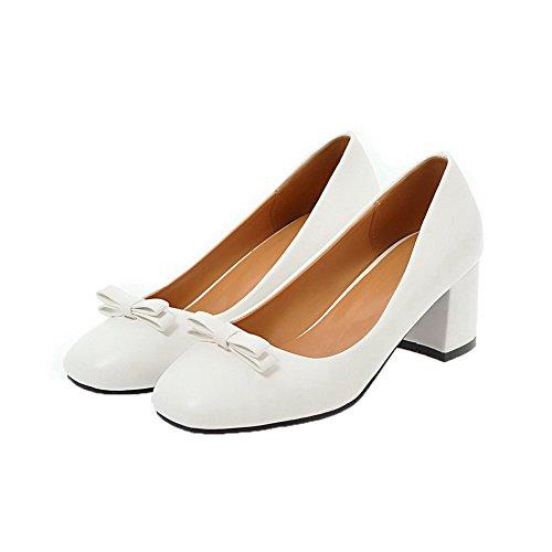 Medio Bianco Donna VogueZone009 Tacco Trafilatura Puro Ballet Flats Tirare HIn8fnqAw