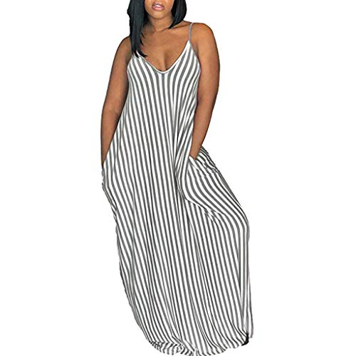 (Women Summer Short Sleeveless Striped Loose Swing T-Shirt ♛HebeTop♛ Midi Dress with Pockets Gray)