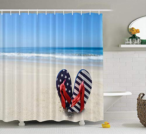 Ansote Flip Flop Shower Curtain Set, Patriotic USA with Flip Flops Sandy Beach July Blue Red Fabric Shower Curtain,Polyester Curtains Bath Curtain Hooks Waterproof Shower Curtain for Bathroom Decor
