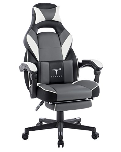 TOPSKY High Back Racing Style PU Leather Executive Computer Gaming Office Chair Ergonomic Reclining Design with Lumbar Cushion Footrest and Headrest (New Black&Gray)