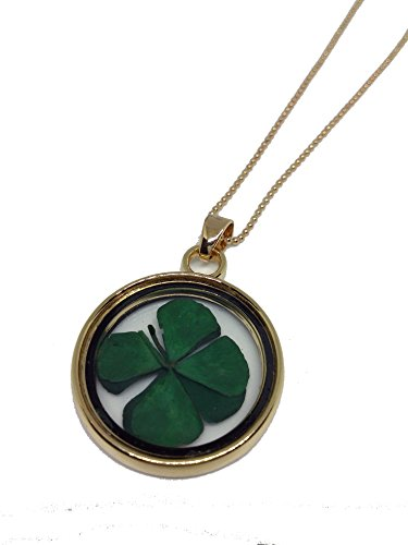 Round Leaf Pendant (Yahony Dried Leaves Lucky 4-Leaf Clover Round Glass Locket Pendant Necklace)