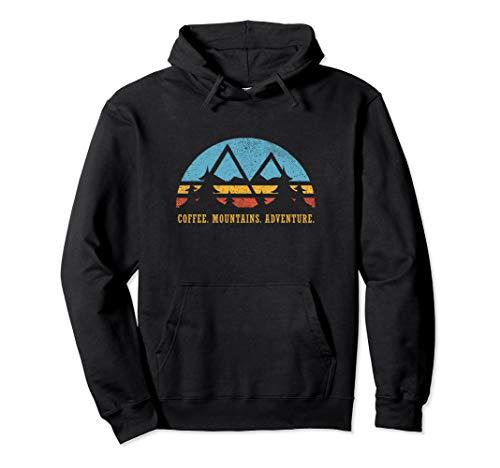 Retro Sunset Hiking Hoodie Coffee Mountains Adventure Shirt