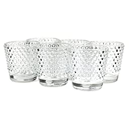Koyal Wholesale Hobnail Glass Candle Holder (Pack of 6), 2.5 x 2.4\