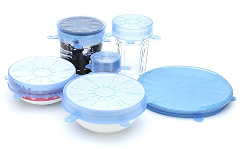 CANDID Silicone Stretch Lids, 6 Pack, Various sizes, Reusable & Fit multiple shapes of containers