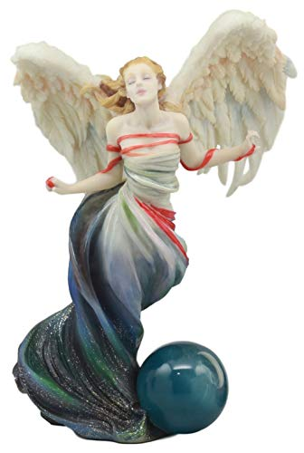 Ebros Written in the Wind Sheila Wolk Angel Statue 10.25 Tall Celestial Angel With Moon Sphere Figurine