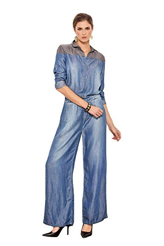 Standards & Practices Women's Contrast Shoulder Tencel Denim Flare Jumpsuit'size Large