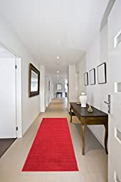 Ottomanson Ottohome Collection Carpet Solid Hallway Wedding Aisle Runner Rug with (Non-Slip) Rubber Backing, Red, 2\'7\