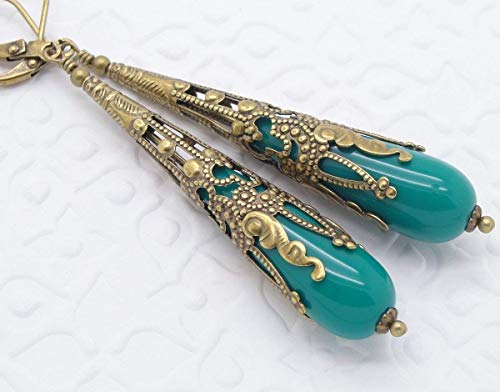 Blue Victorian Earrings with Brass Filigree Cone