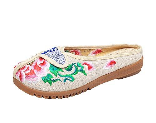 AvaCostume Womens Peony Slipper Embroidery Batik Rubber Flats Slipper Peony Shoes B071QZCVFR Shoes 786036