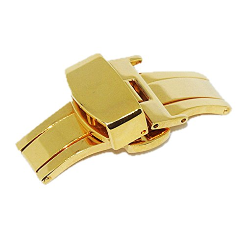 Watch Buckle Stainless Steel Butterfly Deployant Buckle Double Push Spring Watchband Clasp for 16mm 18mm 20mm (18mm, Gold)