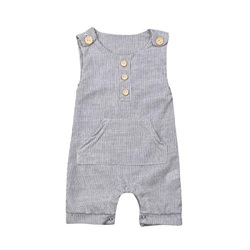 MSDMSASD Newborn Infant Baby Boy Romper Striped Sleeveless Clothes Jumpsuit with Pocket(0-18M)