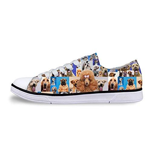 Unisexe Animal Imprimé Toile De Mode Sneaker Casual Lacets Bas Haut Chaussures Plates Chien Impression