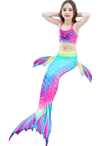 Kids Girls 3pcs Mermaid Tail for Swimming Princess Sea-Maid Bikini Set Swimsuit Bathingsuit by SANNYHHOOT