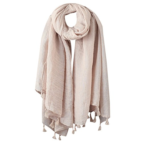 Womens Cotton Linen Flax Tassels Fringe Large Shawl Scarf Solid Pashmina Scarves