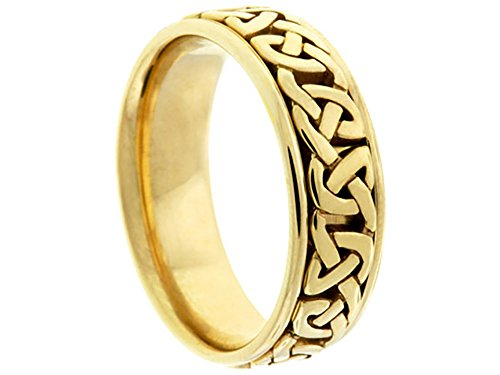 (Men's 14k Yellow Gold Celtic 7mm Comfort Fit Wedding Band Ring size 5.75)