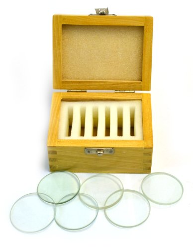 Glass Lenses Set of Six in Wooden Case - 50 mm dia., 3 Double Convex (20, 30, 50cm FL) and 3 Double Concave (20, 30, 50cm FL) - Eisco Labs