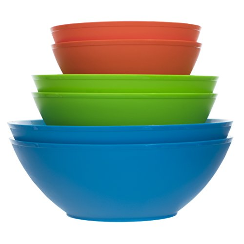 (Fresco Plastic Mixing and Serving Bowls | 12-inch 10-inch 8-inch | 6-piece set in 3 Classic Colors)