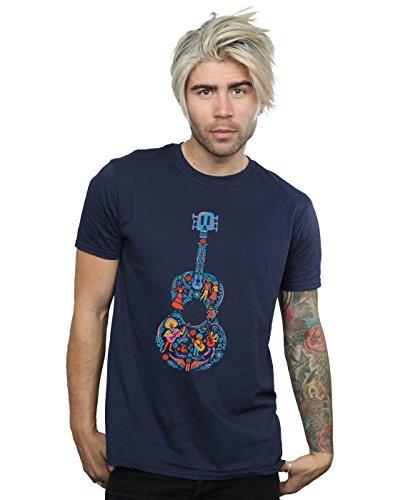 Disney Men's Coco Guitar Pattern T-Shirt Large Navy Blue