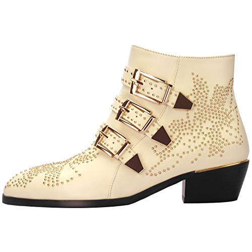 Comfity Boots for Women,Women's Leather Boot Rivets Studded Shoes Metal Buckle Low Heels Ankle ()