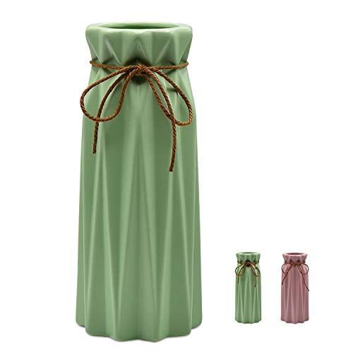 Mozing Ceramic vase Origami Design Decorative vase is Suitable for The Sitting Room Bedroom Office The Wedding Ceremony(Green) (Ceramic Green Vases)