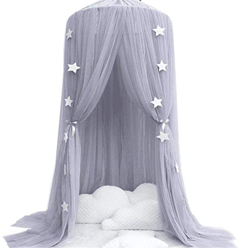 Mosquito Net for children, Cotton Yarn Mosqutio Net Hanging Curtain, Baby Round Dome Princess Room for Indoor Playing, Reading Tent, Bed & Bedroom Decoration (High 240cm, Dome Diameter 60cm) (Grey)