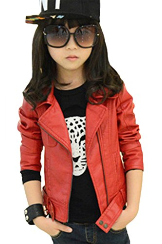 ASHERANGEL Girl's Fashion Collar Motorcycle Jackets Biker PU Leather Coat