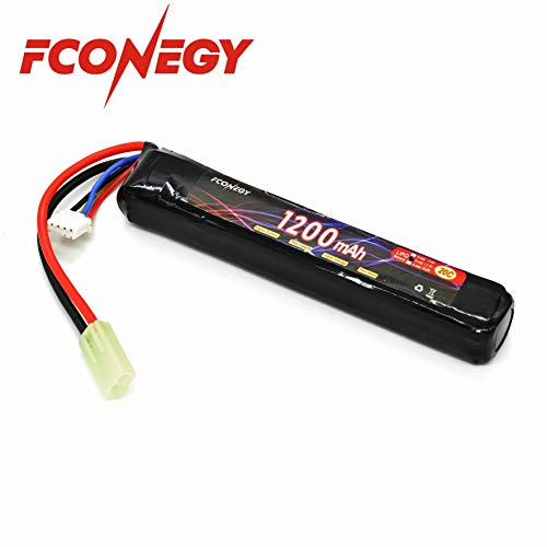 Fconegy 3S 11.1V 1200mAh 20C Lipo Battery Pack with Small Tamiya Plug for Airsoft Gun (Airsoft Guns Websites Best)