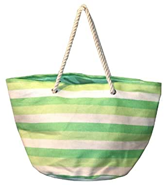 """Oversized Bright Striped Canvas Beach Tote Bag - W5"""" D19"""" H16"""" - Green"""