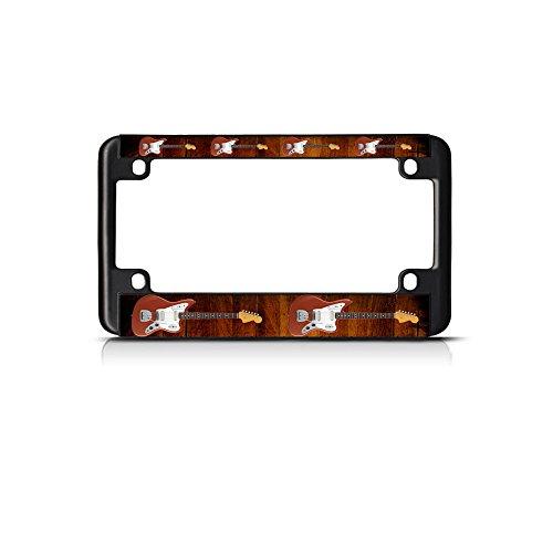 Electric Guitar Musical Instrument Music Bike Black License Plate Frame Tag