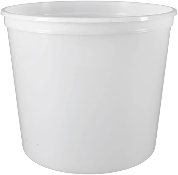 Placon 86PP, 86 Oz Natural Plastic Containers with Plastic Lids, Disposable Take Out Catering Food Soup Containers (100)