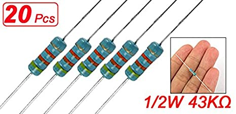 Sourcingmap a11102400ux0167 20 x 1//2W Watt 56 ohm 56R Carbon Film Resistor 0.5W Assorted Colour Set of 20 Pieces