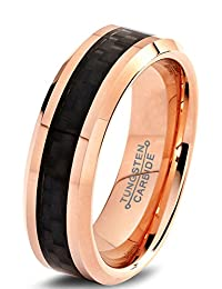 Tungsten Wedding Band Ring 6mm for Men Women Comfort Fit 18K Rose Gold Plated Black Carbon Fiber Beveled Edge Polished Lifetime Guarantee