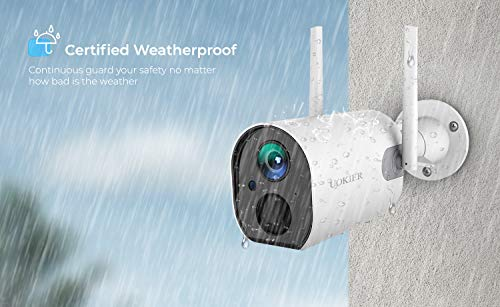 Wireless Outdoor Security Camera, Rechargeable Battery 10400mAh for 4-8 Months, 1080P WiFi Surveillance Camera with Upgraded Antenna, Motion Detection, Night Vision, 2-Way Audio, IP66 Waterproof