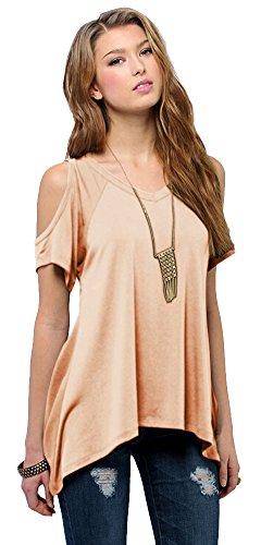 Urban CoCo Women's Vogue Shoulder Off Wide Hem Design Top Shirt - X-Small - Nude Pink
