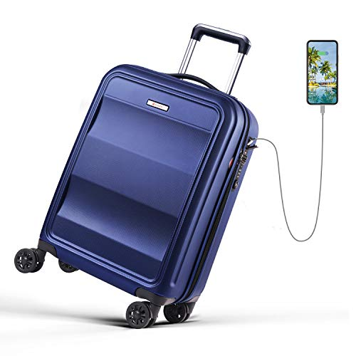 REYLEO Cabin Luggage-Hand Luggage Suitcase with Most Durable PC Hard Shell,Build in Tsa Lock,USB Charging Port and…