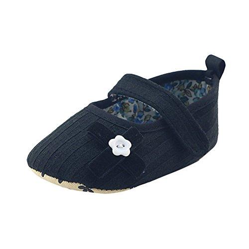 Coohole Newborn Infant Baby Girls Hook & Loop Buckle Strap Bowknot Crib Shoes Soft Sole Anti-slip Sneakers (12, Blue 1) Black 2