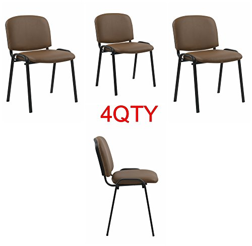 Modern STACKING CHAIRS in TAN/CAMEL PU Leather - for office, training, boardrooms, canteens, community centres and home. Sold in a (PACK of 4) chairs. by US Office Elements