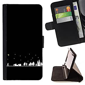 Jordan Colourful Shop - night city silhouette moon stars For Apple Iphone 5C - Leather Case Absorci???¡¯???€????€?????????